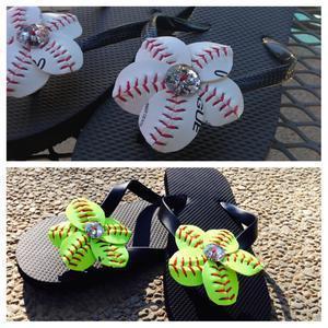 a80ebb3f6 Baseball or Softball Bling Flip Flop Flowers