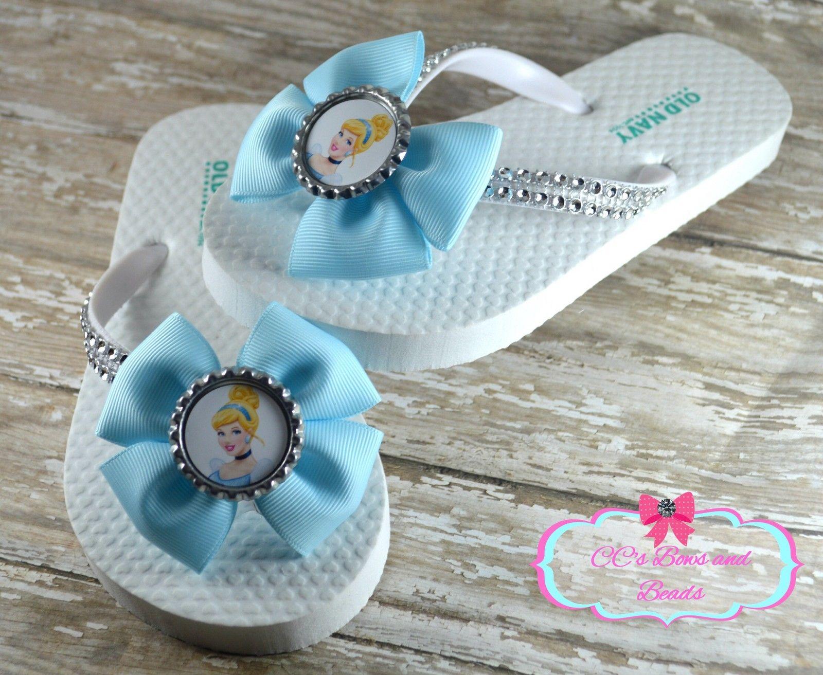 c2d2ff0bc5dc Disney s Cinderella Flip Flops Sandals White Old Navy Rubber Summer ...