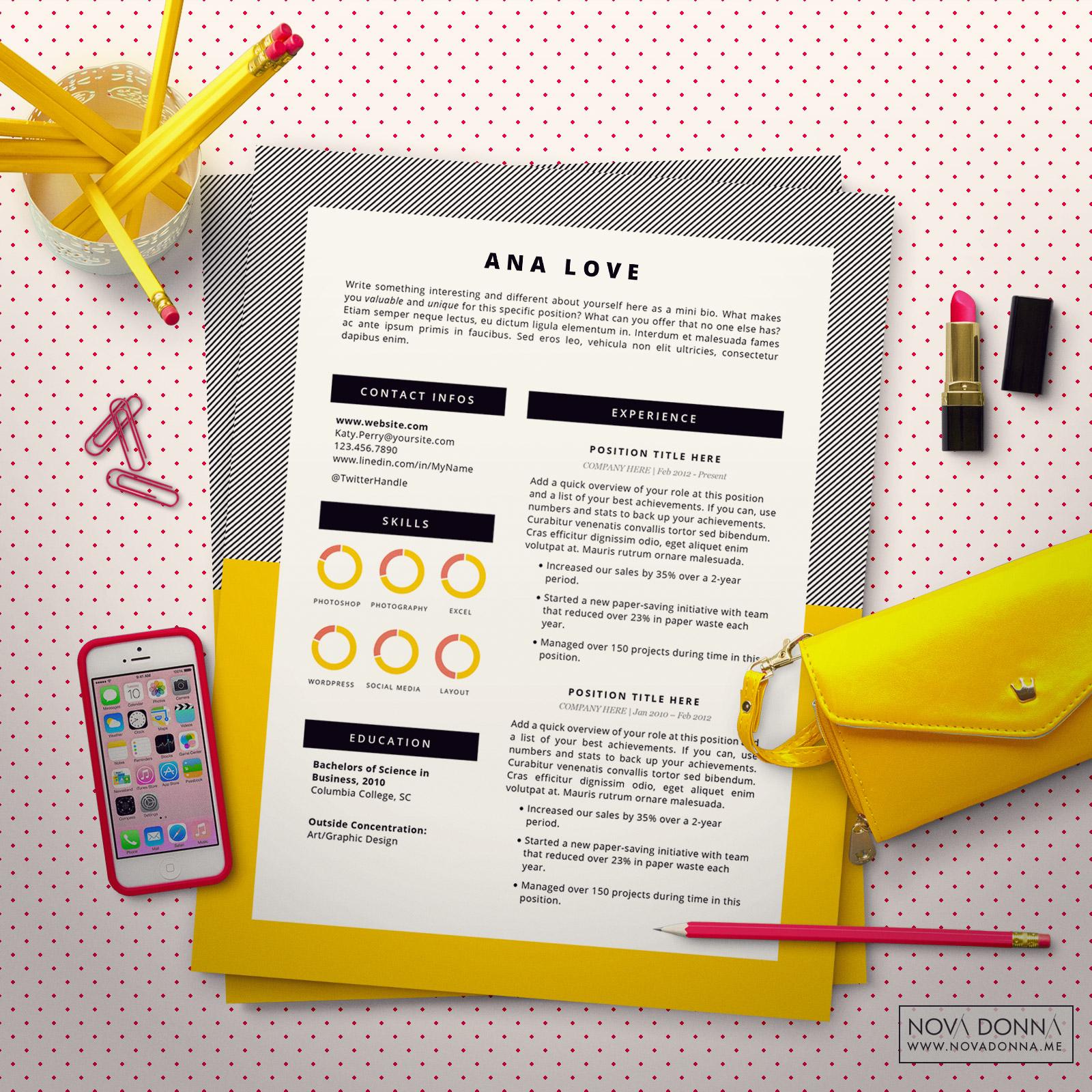 Resume Template Cv Template Design For Word Cover Letter