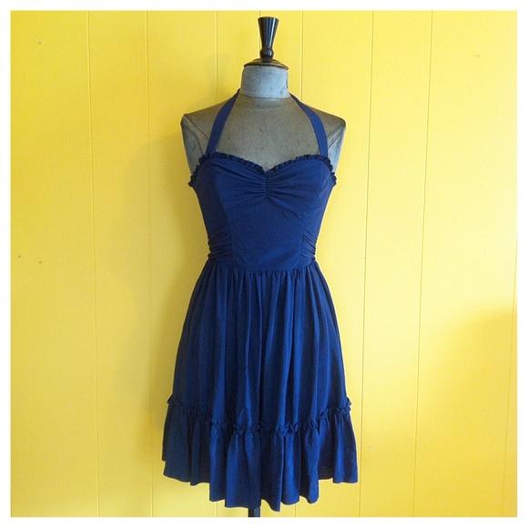 43fa1664b5312 Betsey Johnson Navy Silk Halter Dress, size 4/6 · Seek and Find ...