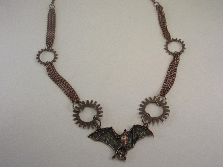 Bat necklace gothic meets steampunk