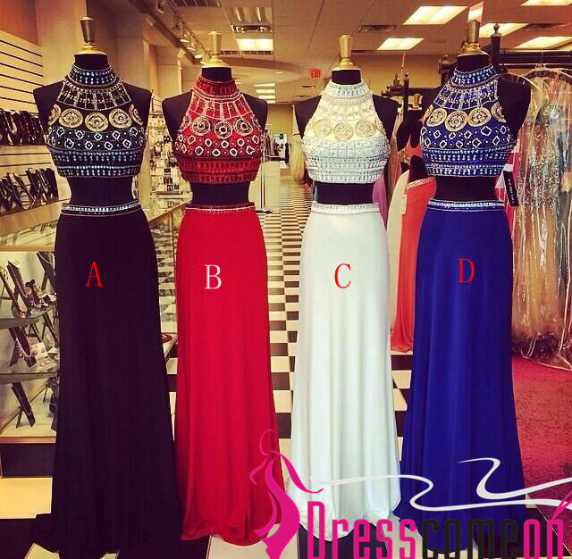 Royal Blue Chiffon 2 Pieces Long Prom Dress High Neck Mid Section ...