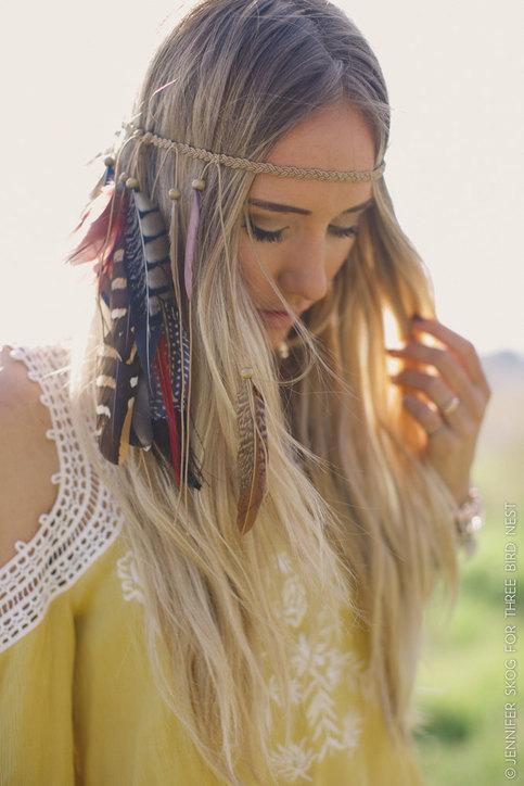 Coachella Feather Headband Headpiece Boho Feather