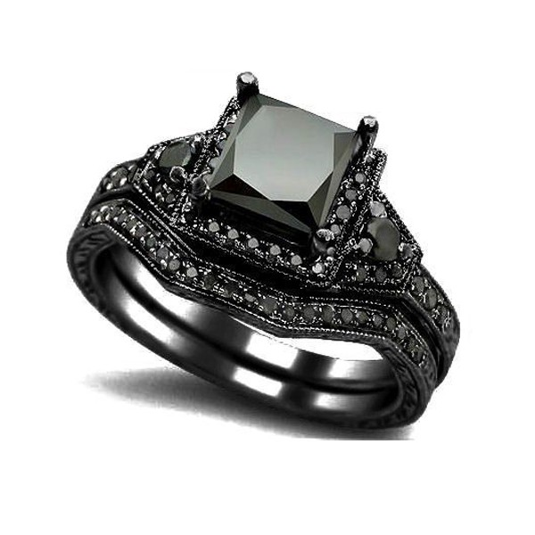 Black Gold Filled Black Diamond Princess Cut Engagement Wedding