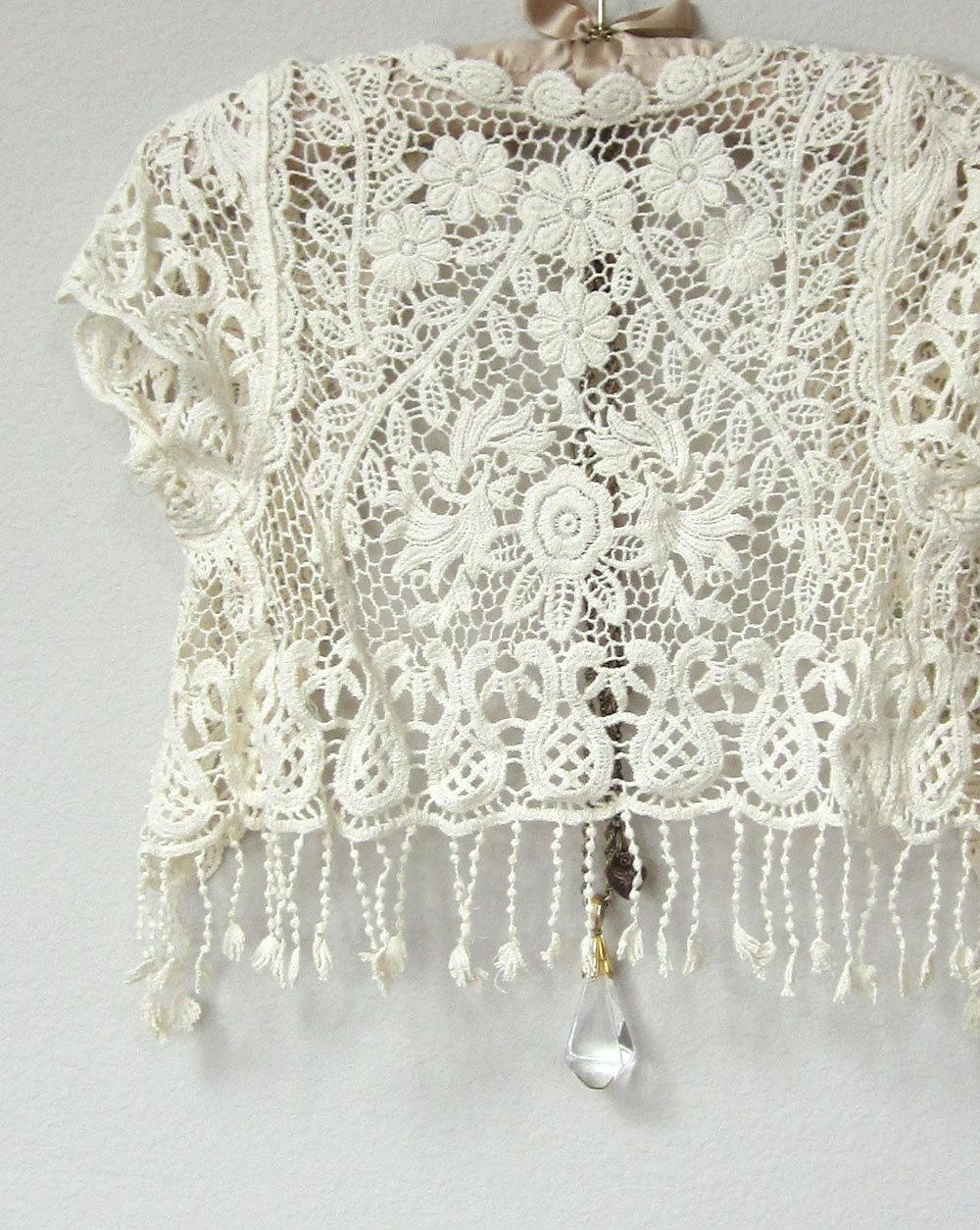 5755c7a341171 ... Beautiful Ivory White Crochet Short Sleeve Capelet, Cover Up Jacket,  Vest with Fringe,