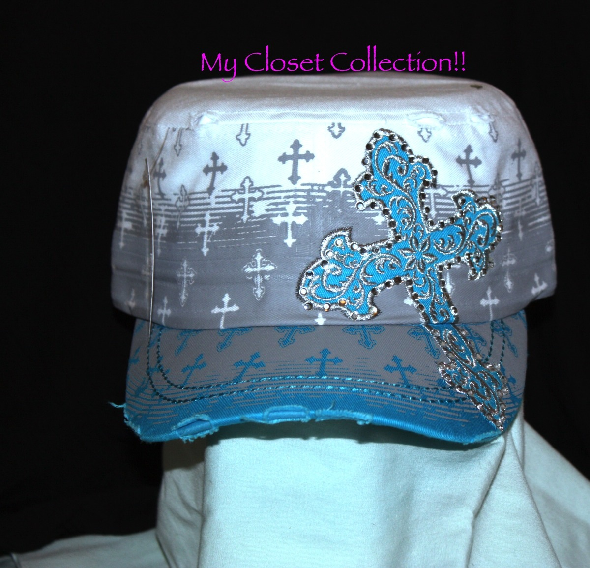 93690a307ba Turquoise and white cross cadet hat with rhinestone inlay · CAF ...