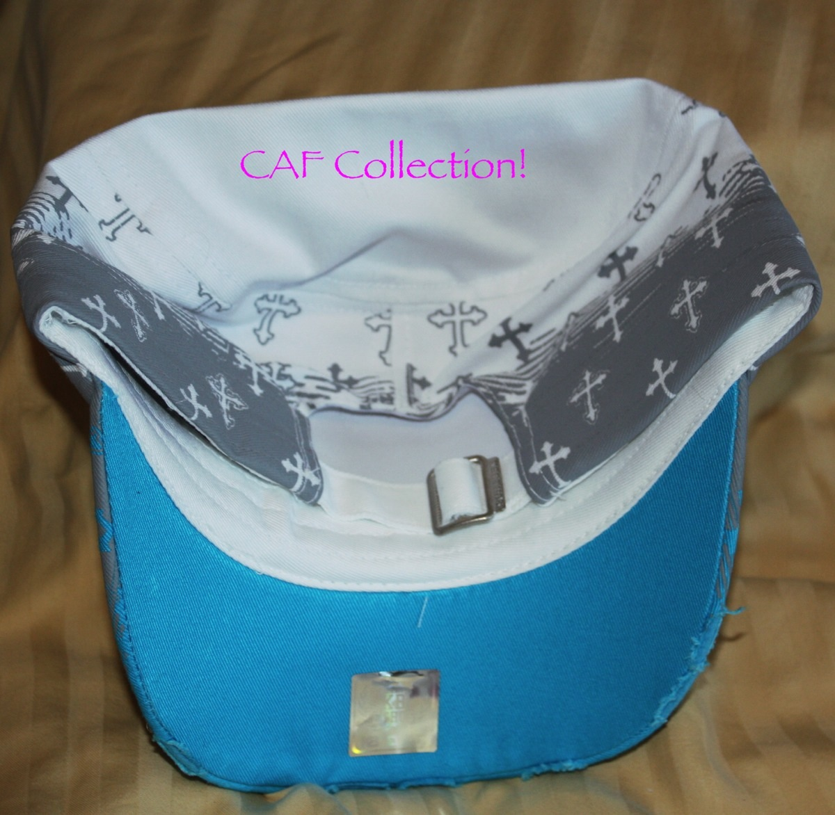 5db1923a95f Turquoise and white cross cadet hat with rhinestone inlay - Thumbnail ...