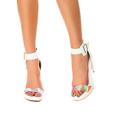 855d4070a08 Jeffrey campbell pegasus sandals in white iridescent leather with unicorn  heel