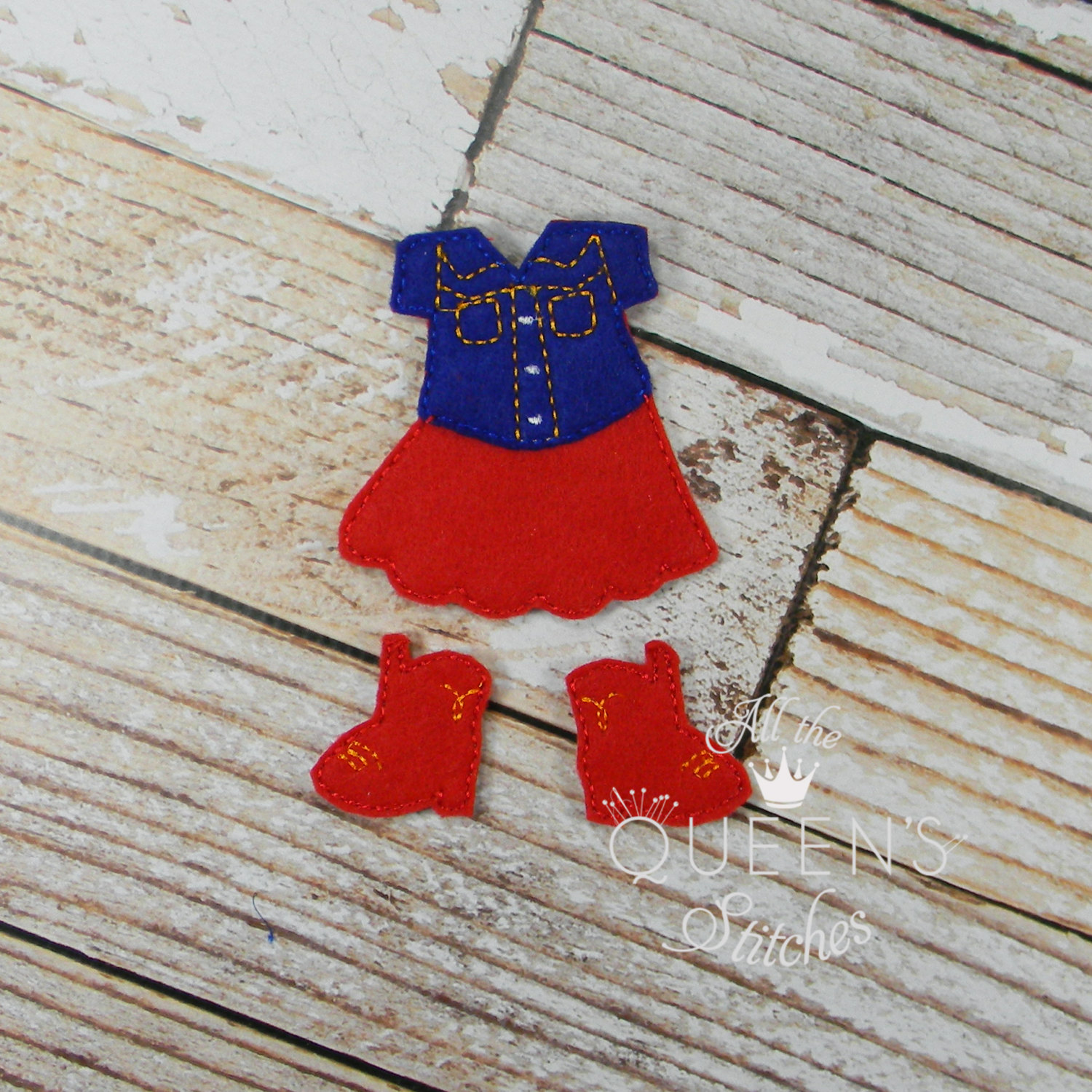 c6bdd3643 Red and Blue Cowgirl Country Girl Felt Non Paper Doll Outfit ...