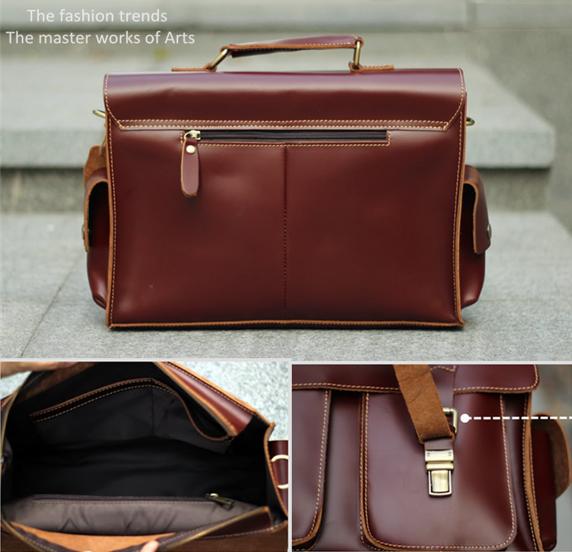 Handmade Leather Messenger Bag Leather Briefcase