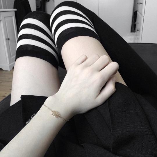 incredible prices best fashion styles JK White Stripe Cotton Thigh High Socks - Black sold by Sandysshop