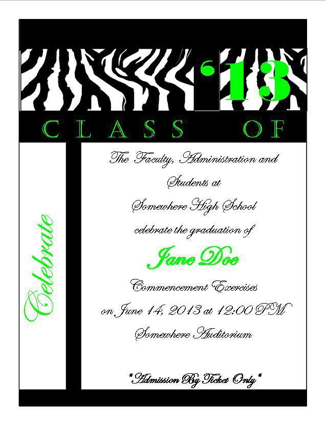 zebra print graduation announcement 1 southern desktop publishing