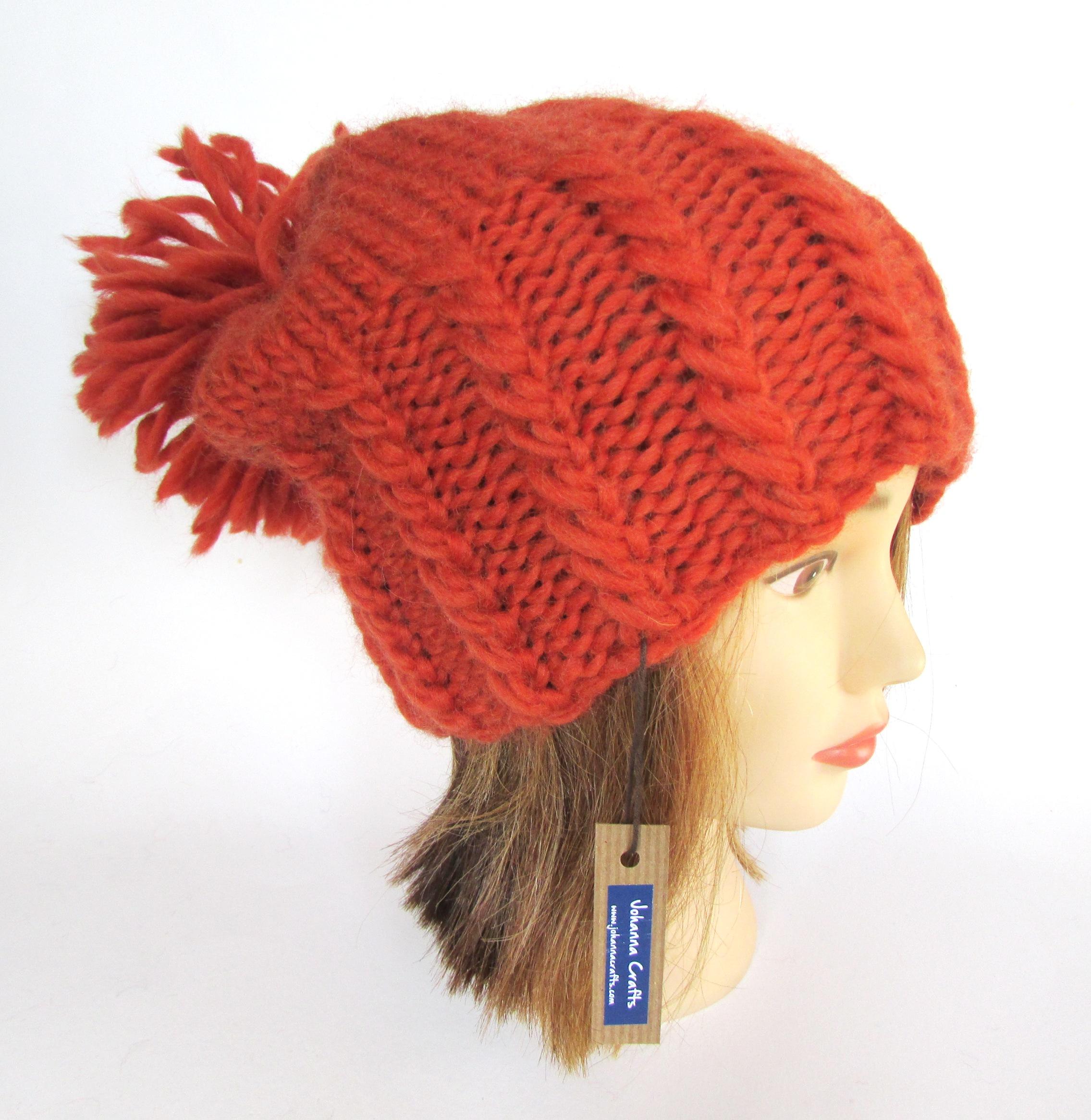 a269f0d0b Irish hand knit burnt orange hat with large pom pom - chunky knit fun  slouchy beanie hat - warm wool knit beanie - Irish knitwear by Johanna  Crafts