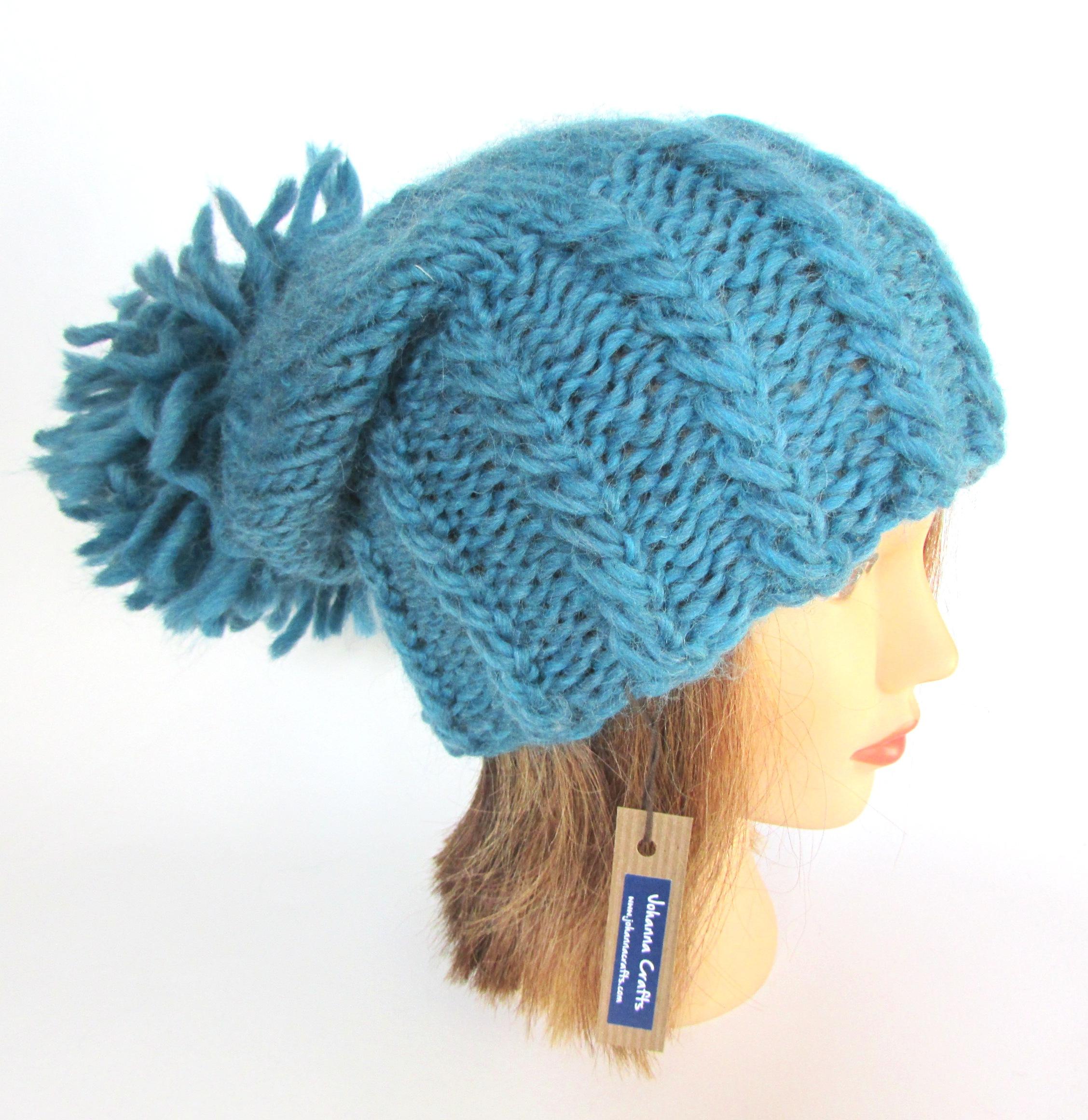 e888bd6080fe0 Irish hand knit petrol blue hat with large pom pom - chunky knit fun ...