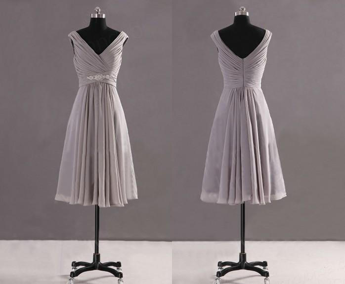 Lady Angel Free Shipping Short Beige Chiffon Bridesmaid: Grey Bridesmaid Dresses, Cheap Bridesmaid Dress, Prom