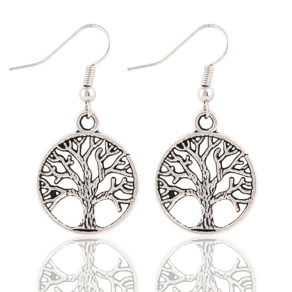 Silver Plated Tree of Life Dangle Earrings Large