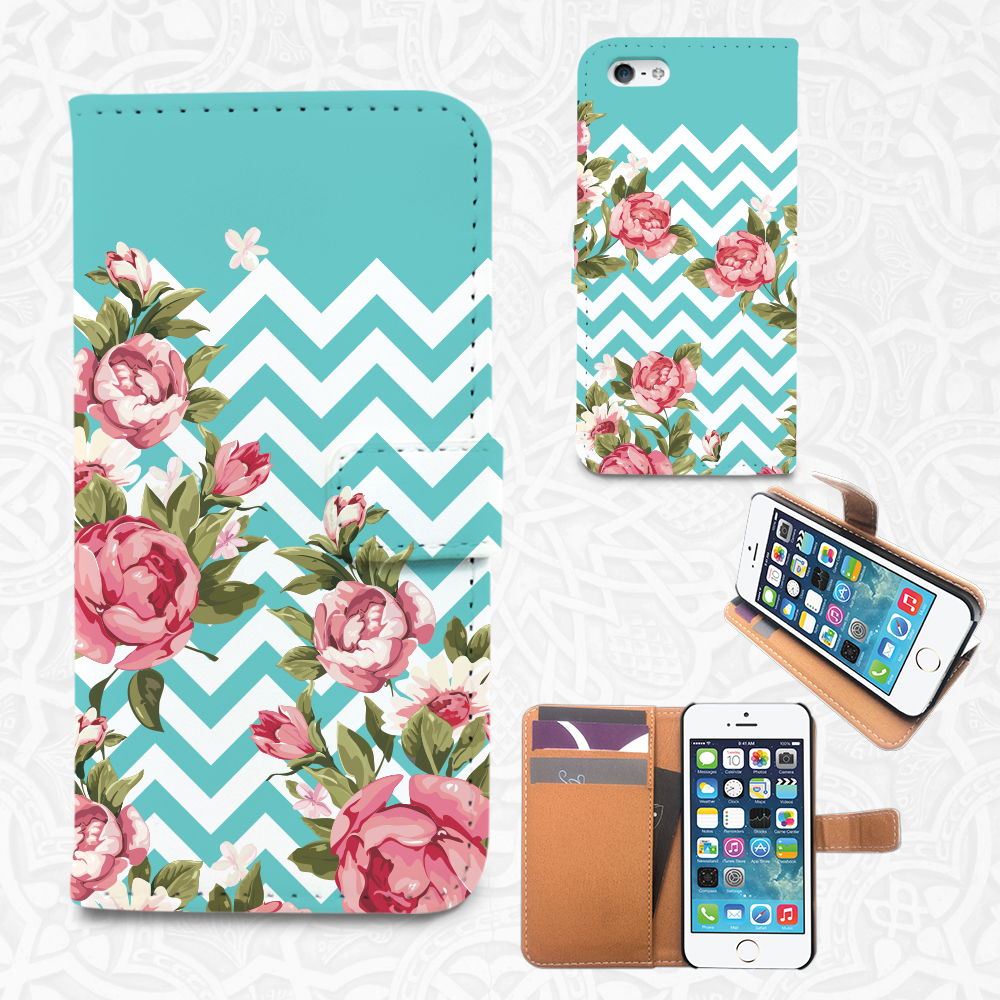 multiple colors fea13 a2d1a Chevron Floral custom iPhone/smartphone flip PU leather Wallet case for  iPhone 6, 6 plus, 5, 5s, 5c, 4, 4s- Samsung Galaxy 6S S5 S4 S3, Note 3, 4
