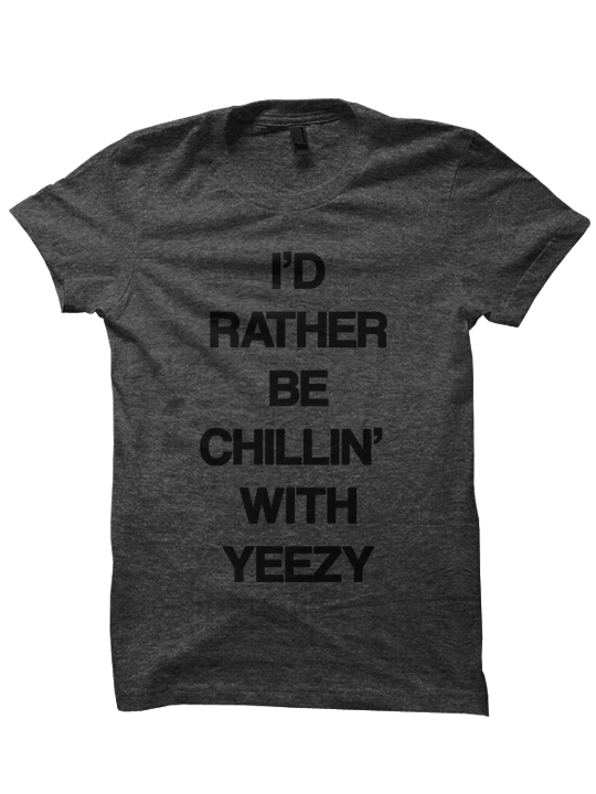 best loved 89955 767ac Yeezy t shirt i d 20rather 20be 20chillin dk 20gry small