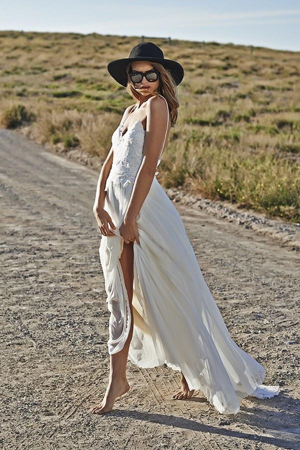 d25e82aa931 ... Boho Beach Wedding Dresses Sexy Summer Spaghetti Straps Open Backs Lace  White Wedding Gown - Thumbnail ...