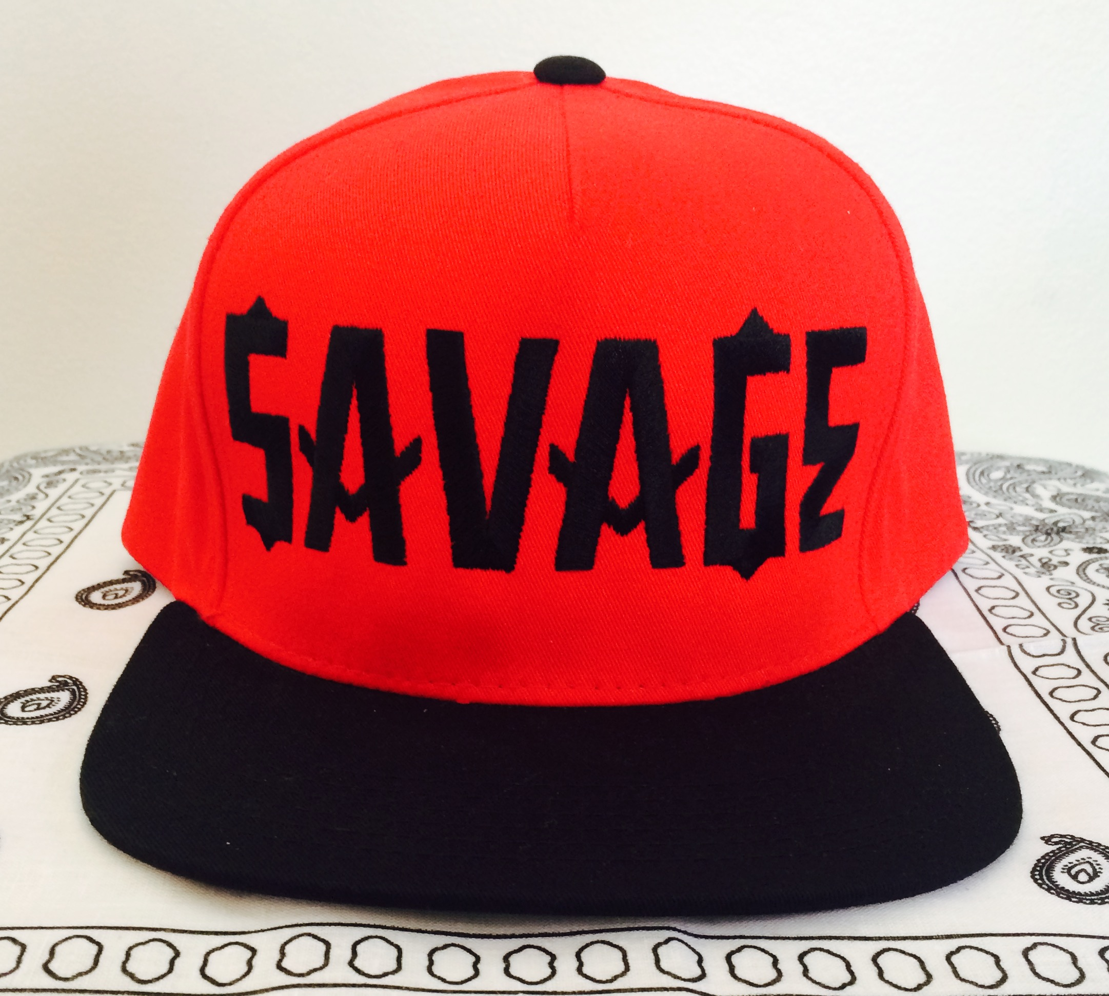 25f0a22ff60 SAVAGE Snapback-Black on Red · LURKER APPAREL · Online Store Powered ...