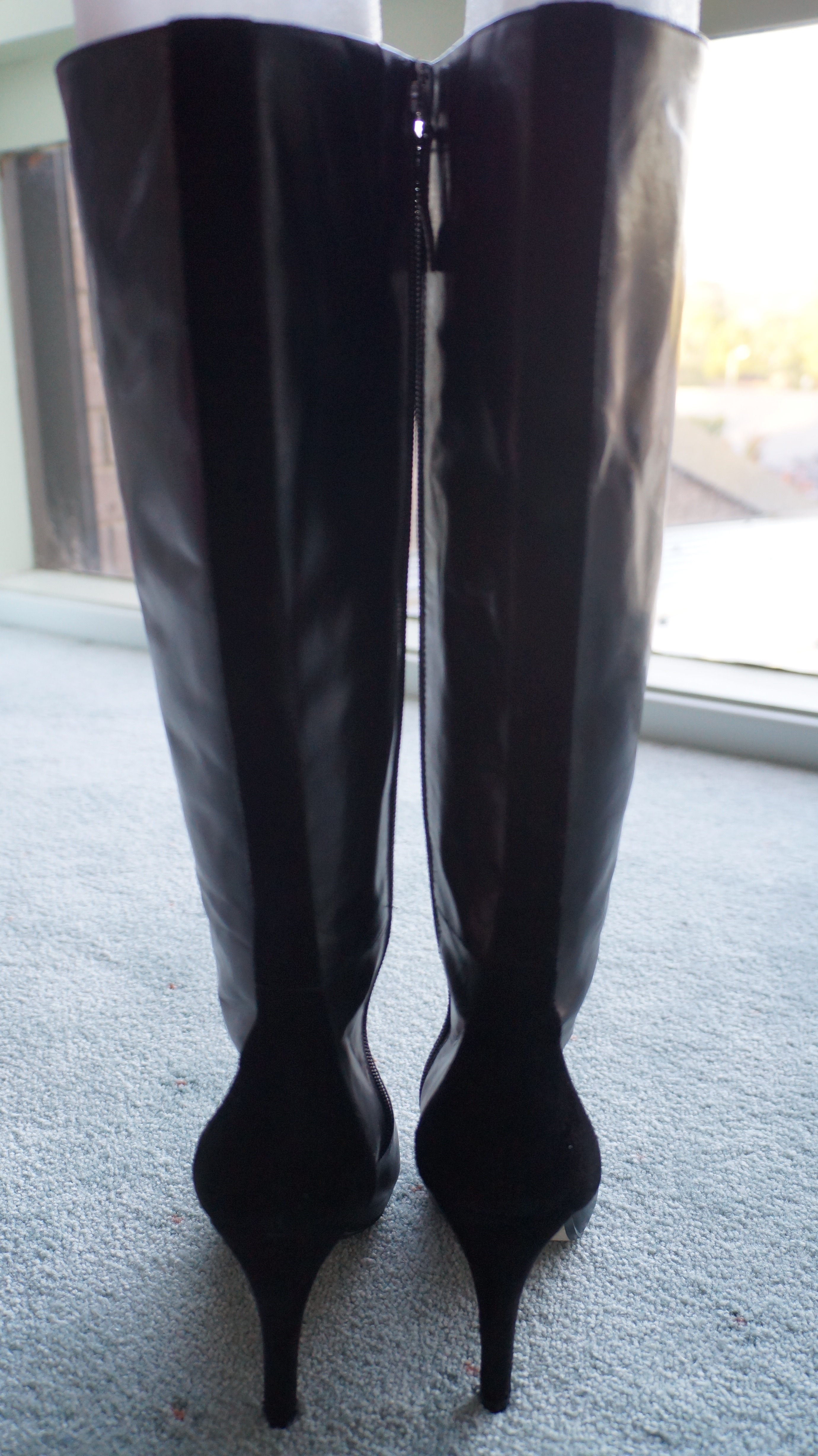 28ff7053691 Wittner Black Leather Suede Panel High Heel Winter Boots with Zipper AU37  from Marla's Vintage Garments