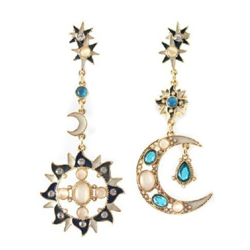 Gold Tone Sun Moon Star Jewel Gem Crystal Big Long Drop Earrings