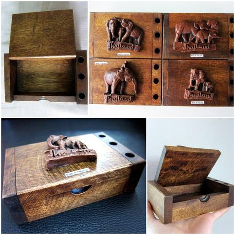 Pen Note Card Holder Wooden Box Multipurpose Gift Elephant