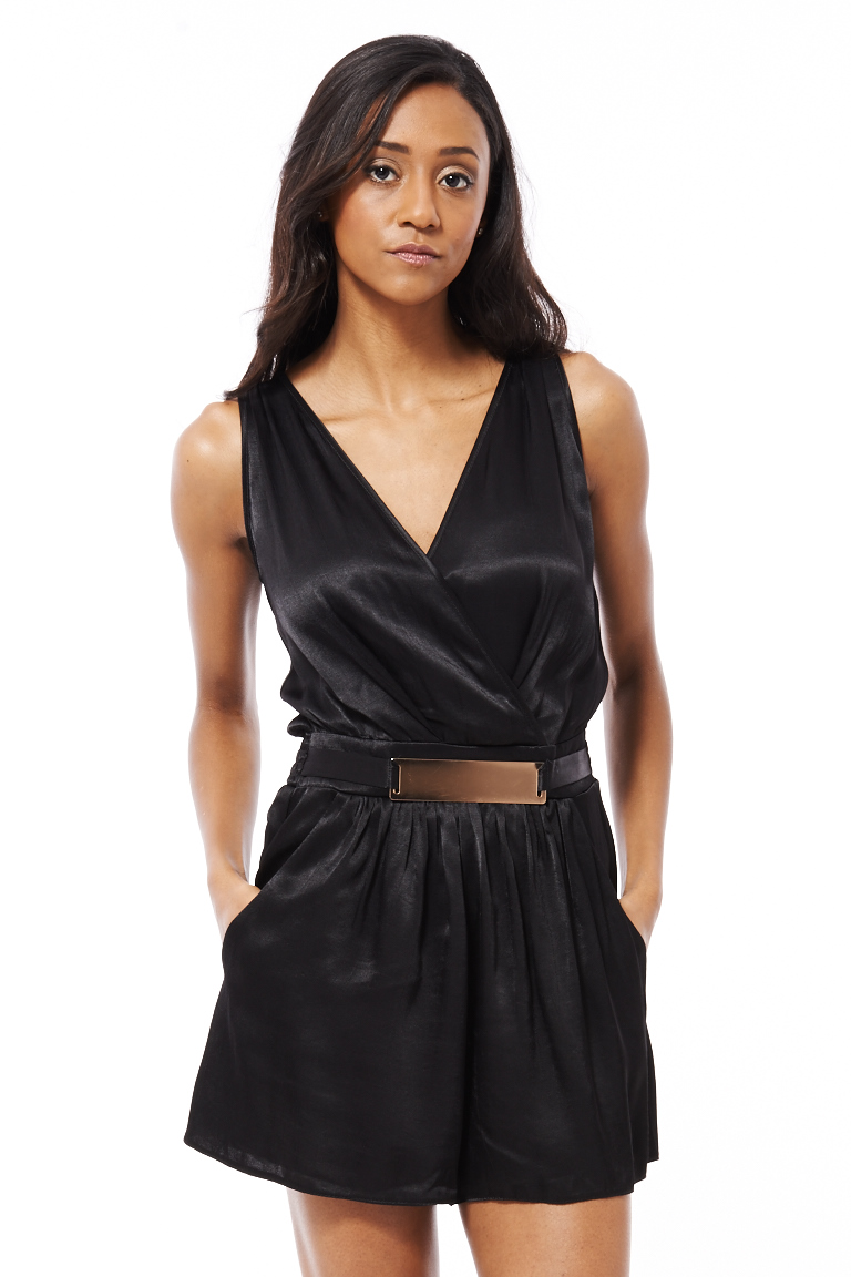 a36083562c10 Black Silk Look Romper with Gold Buckle · HARPER BLOOM · Online ...