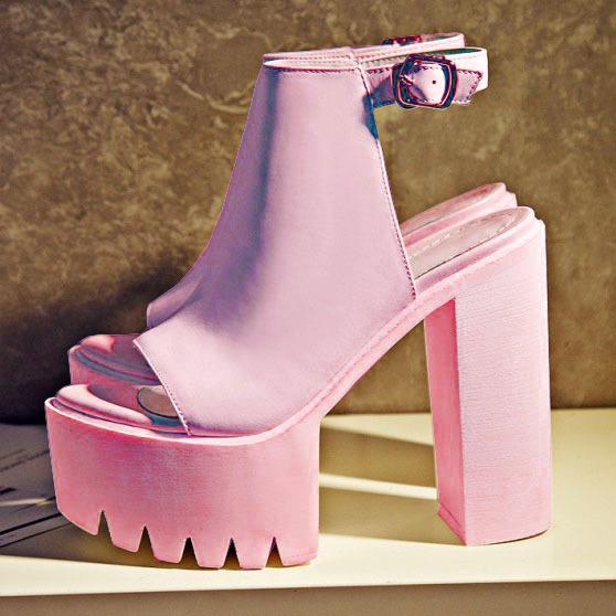 13c0c1a86f0c8 Pastel Pink Chunky Platform Heels