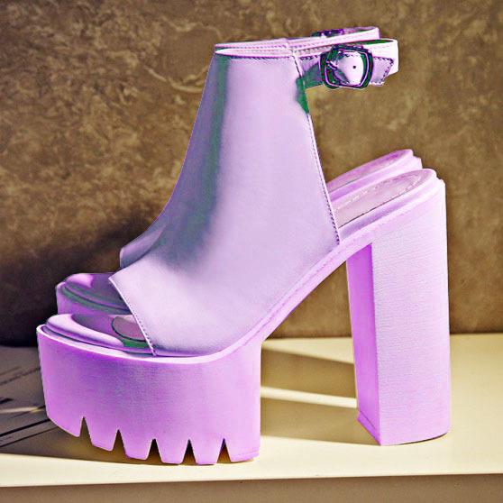 cc032749b72 Lavender Chunky Platform Heels