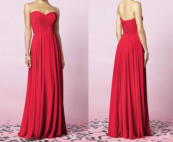 Red Bridesmaid Dresses, Simple Bridesmaid Dresses, Chiffon