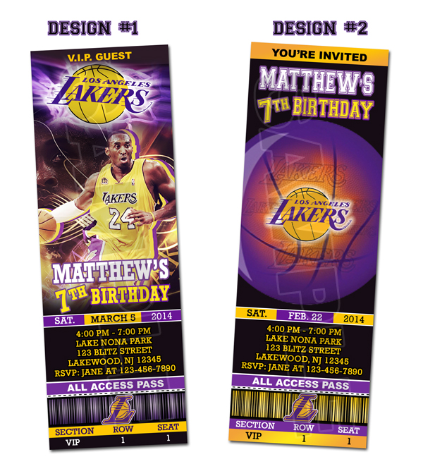 La Lakers Ticket Birthday Party Invitations Printable On