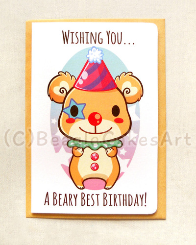 Cute Clown Bear 4x6 Quot Inch Happy Birthday Card Beary