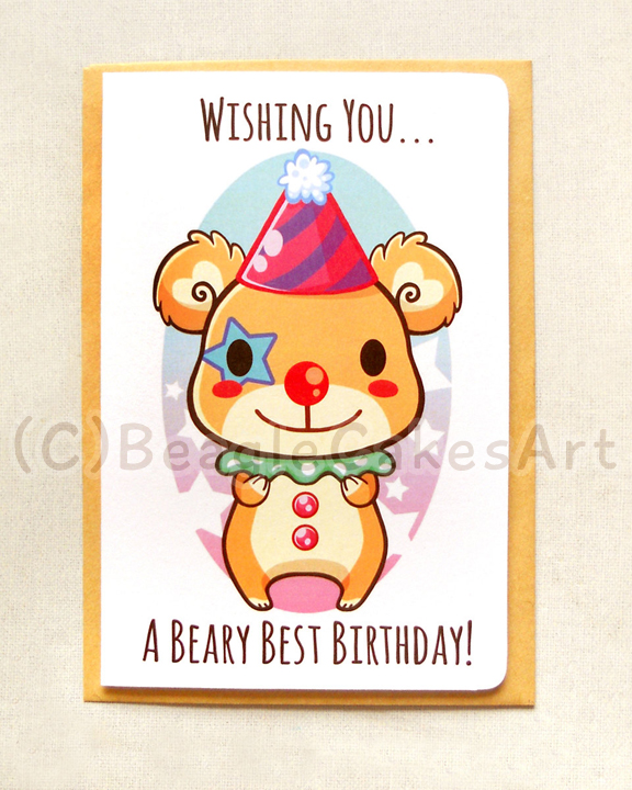 Cute Clown Bear 4x6 Inch Happy Birthday Card Beary Birthday Card