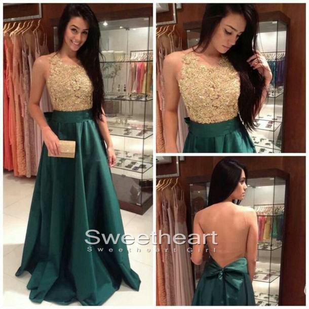 Sweetheart Girl Green A Line Lace Long Prom Dressevening Dresses