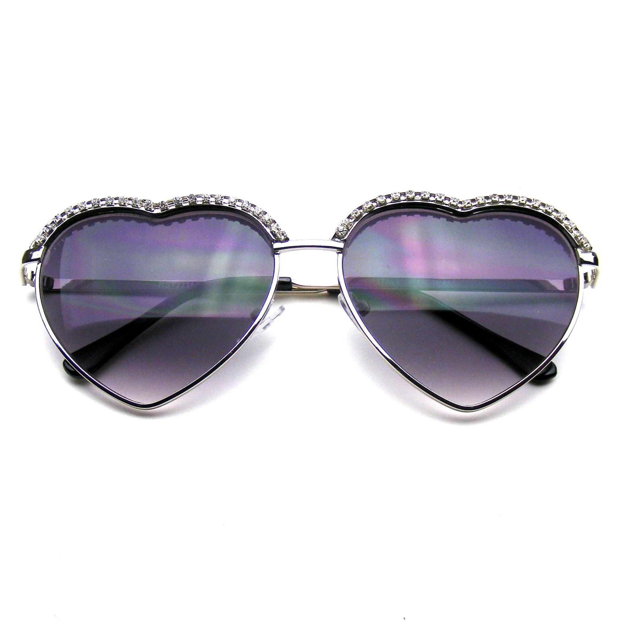 Cute Chic Heart Shape Glam Rhinestone Sunglasses · Emblem ... - photo#29
