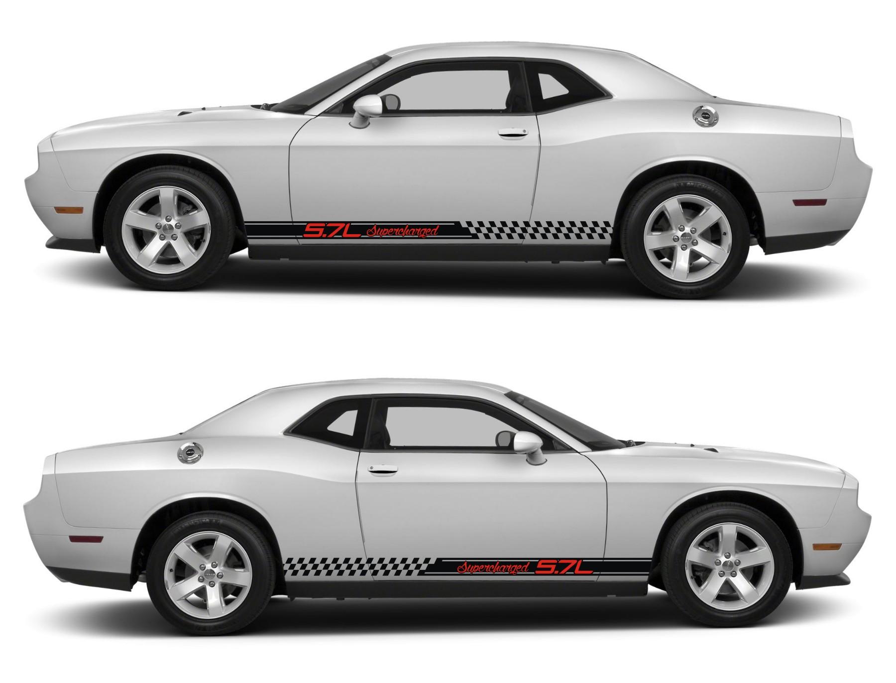 Spk213 Dodge Challenger Racing Stripes Sticker Decal Kit Srt Sxt