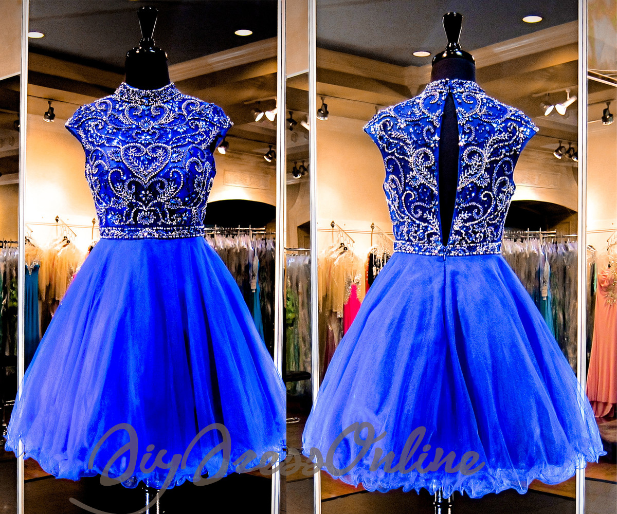 New Arrival High Neck Royal Blue 2k15 Homecoming Dress
