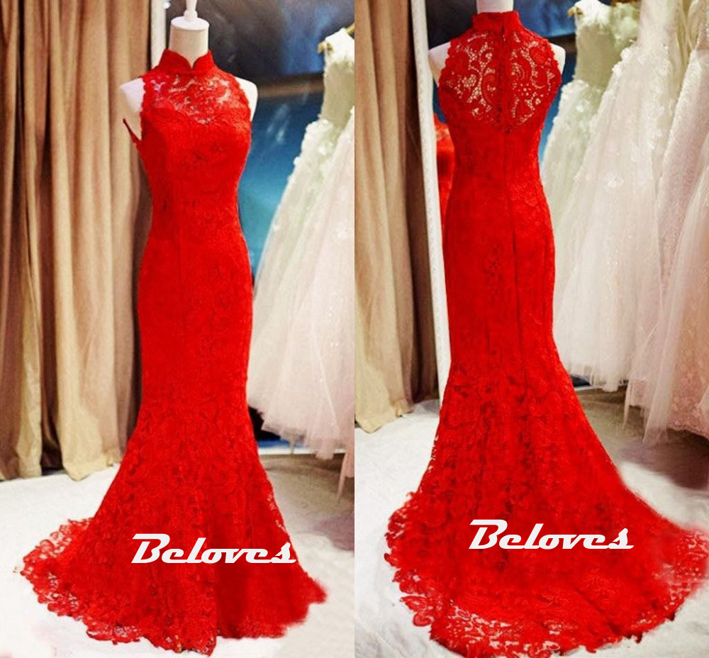 Elegant Red Lace High Neck Mermaid Evening Gown · Beloves · Online ...