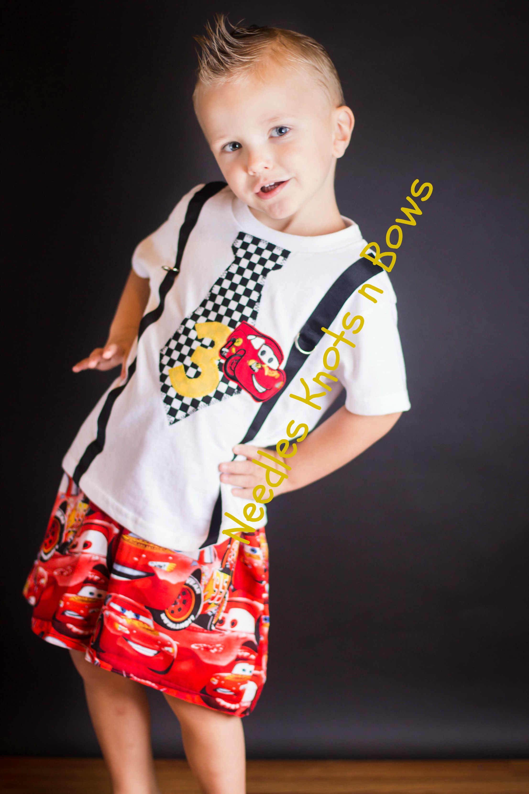 Boys Disney Cars Birthday Outfit First Shorts Tshirt