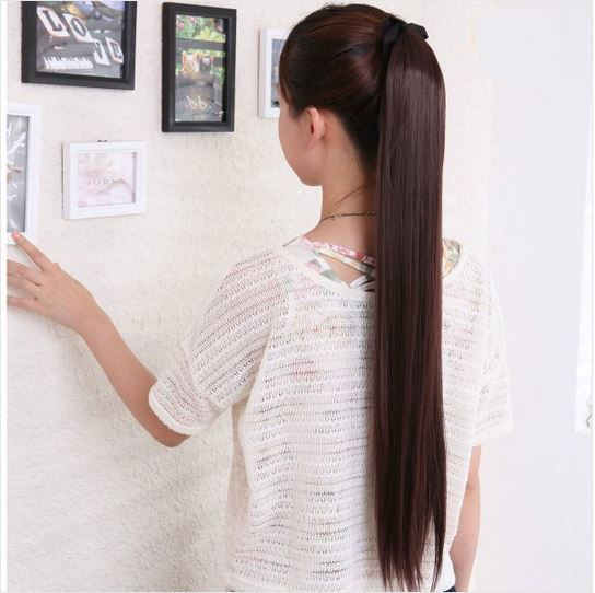 Long Straight Ponytails Synthetic Hair Extension Wigs On