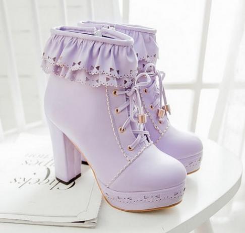 ... Japanese sweet lolita falbala high-heeled boots - Thumbnail 3 ... acb88c8cdae9