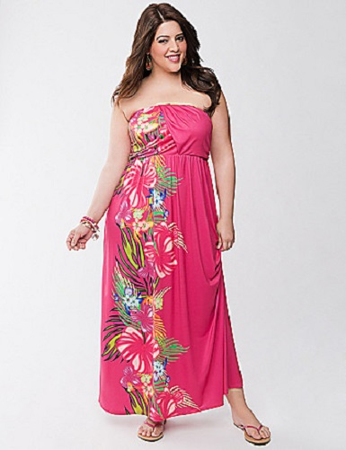 Lane Bryant Plus Size Pink Floral Print Strapless Maxi Dress on Storenvy