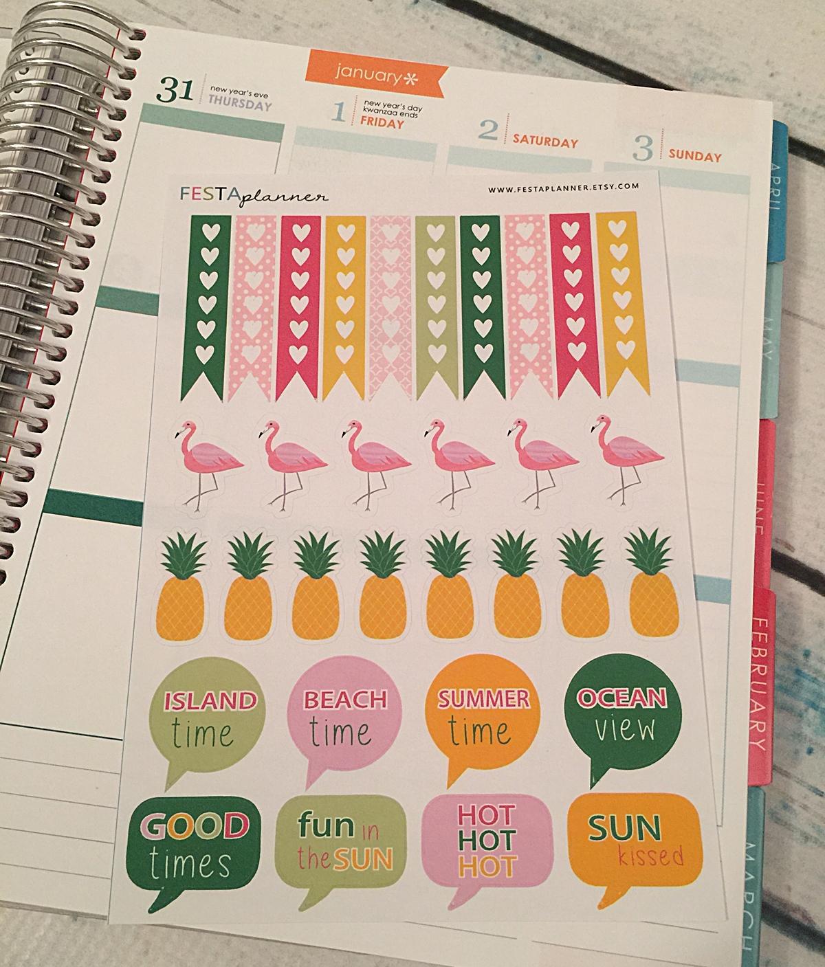 flamingo 2 / pineapple cute planner stickers - erin condren, filofax