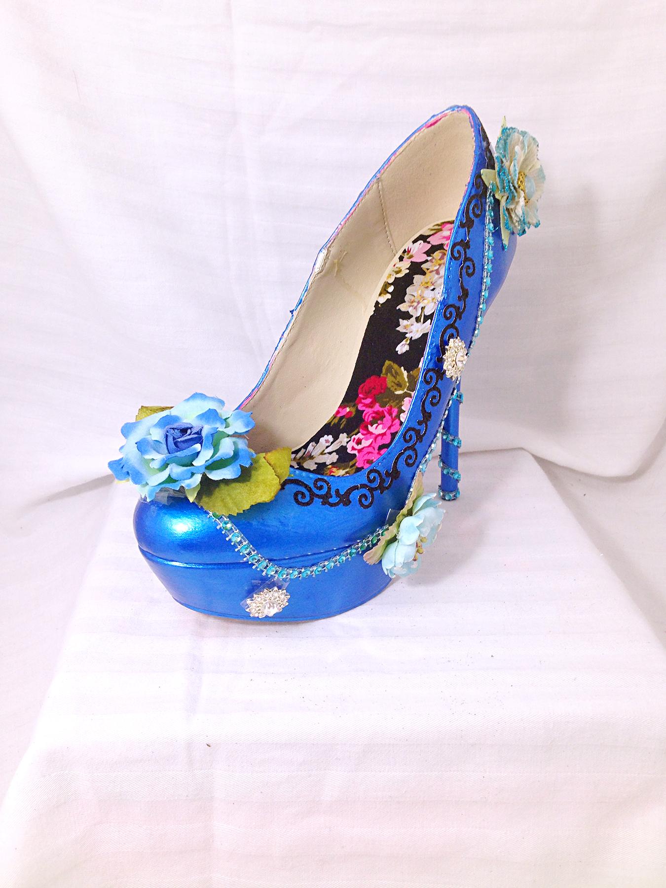 6e3785c51a13e7 Blue Floral Pumps Wedding Shoes on Storenvy