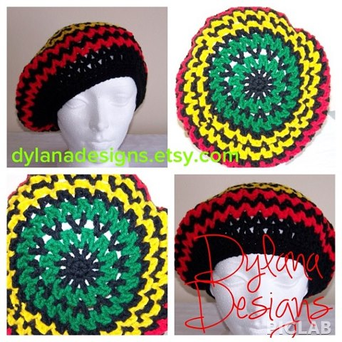 Hand Crochet Slouchy Roots Rastafarian Tam Afrocentric Unisex Hat On