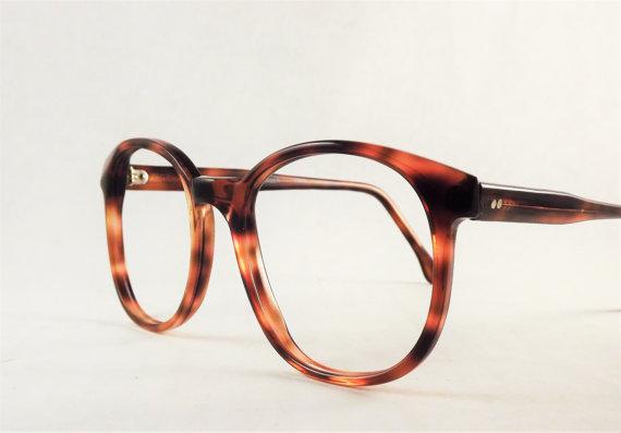 Vintage Womens Dark Brown Tortoise Shell Eyeglasses Big