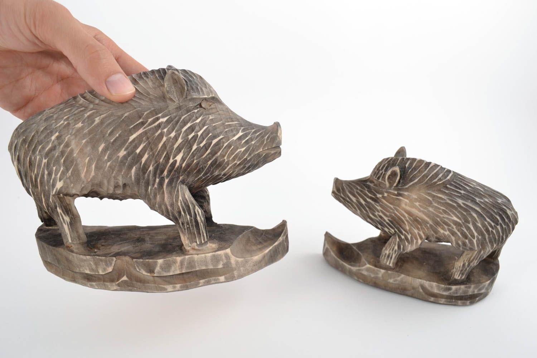 Set Of 2 Handmade Collectible Wooden Animal