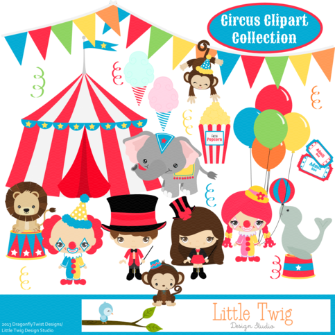 Circus Digital Clipart, clip art collection on Storenvy