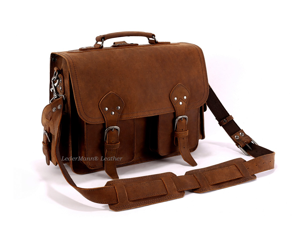 16   Laptop Messenger Bag - Brown Vintage Style Leather Briefcase ... c47f295a24042